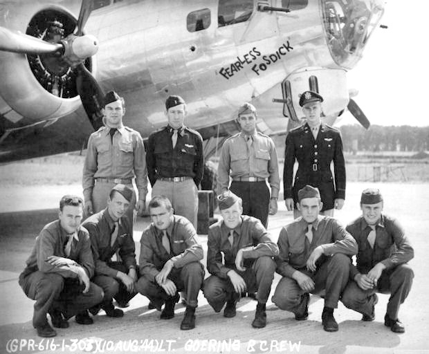 CAPTAIN WERNER GOERING and his B-17 crew in 1944. Goering is on the rear far right. Co-pilot Lt. Jack Rencher is two men to the left. They all likely would have died if Goering tried to land his plane in enemy terrirtory.