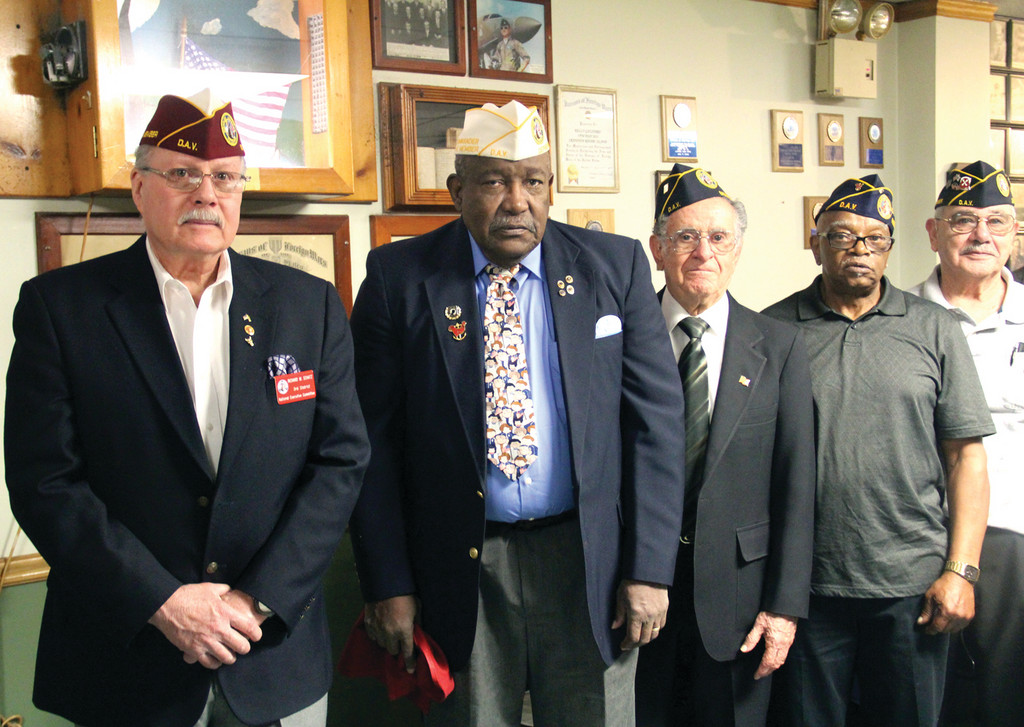 COMMITTED TO THE CAUSE: Some of the DAV members at Saturday's installation were Richard W. Schatz, National Executive Committee 3rd District; State Commander Fred Adams; Commander Gilbert Botelho; and Robert Bank, past commander, Chapter 1.
