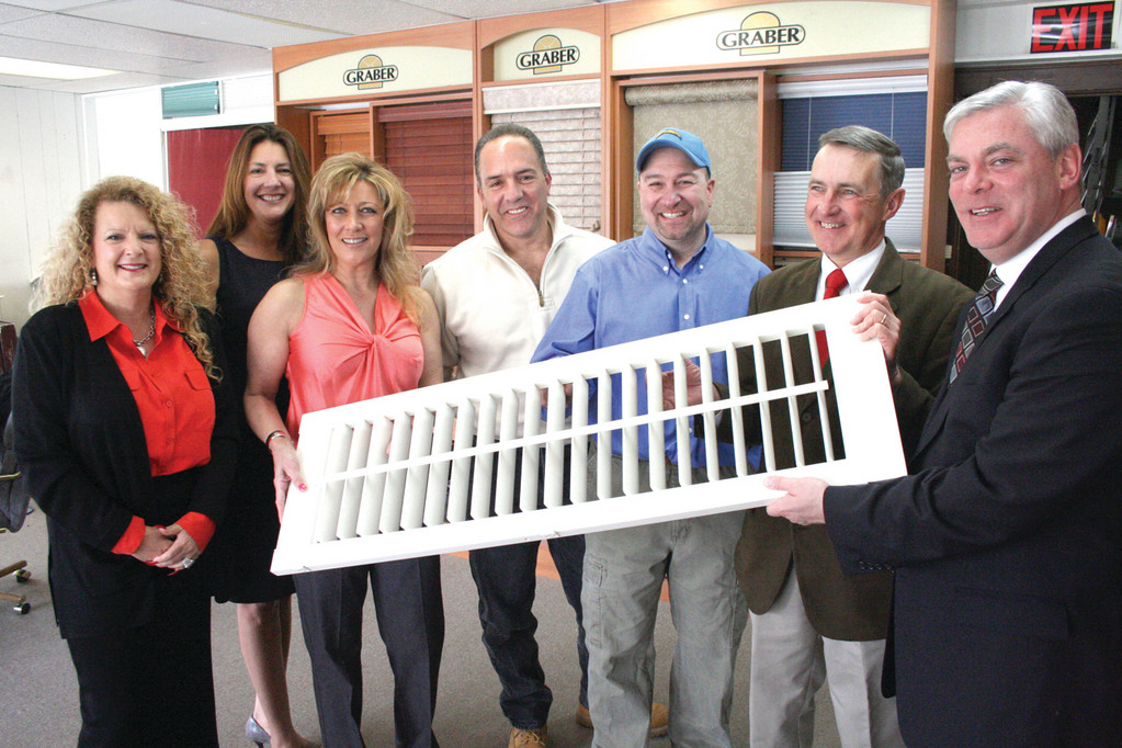 PROMOTING THE SHOW: In an effort to promote the Home Show opening today at the Convention Center, Mayor Scott Avedisian visited Harris Blinds & Shutters yesterday. From left are: Carol O'Donnell, Cynthia Valenti Smith, Cheryl Boyd, Louis Cotia, Harris Alkins, Robert Baldwin and Mayor Avedisian.