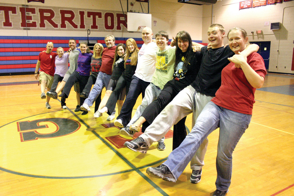 Toll Gate faculty and their partners – all members of the senior class – line up in a recent rehearsal for Dancing with the Seniors that will be held this Saturday at the school gym.