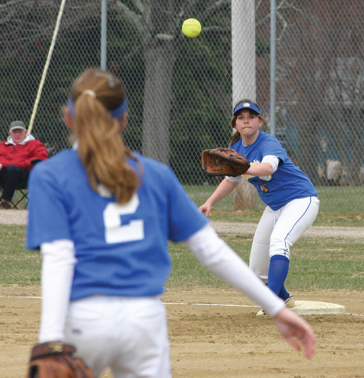 THROW ACROSS: Courtney Buratczuk catches a throw from Amanda Graves during a game last season.
