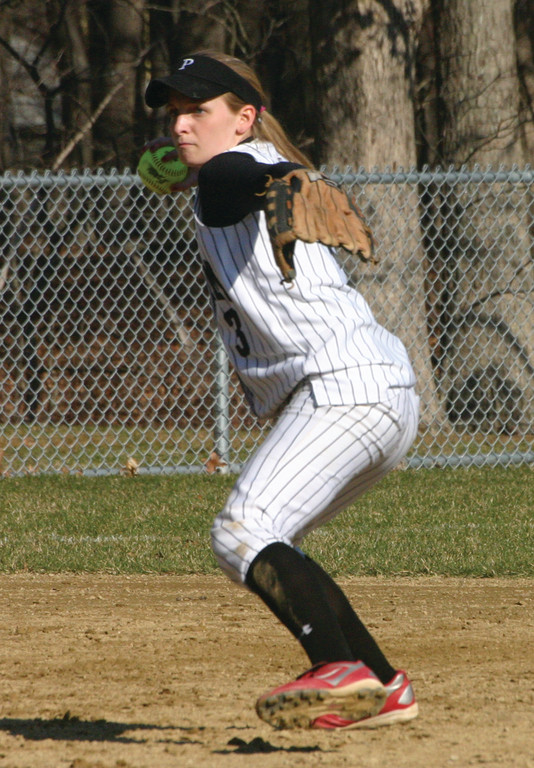 LINING IT UP: Pilgrim shortstop Katelyn Reph gets ready to fire a throw across the diamond in a game last season.