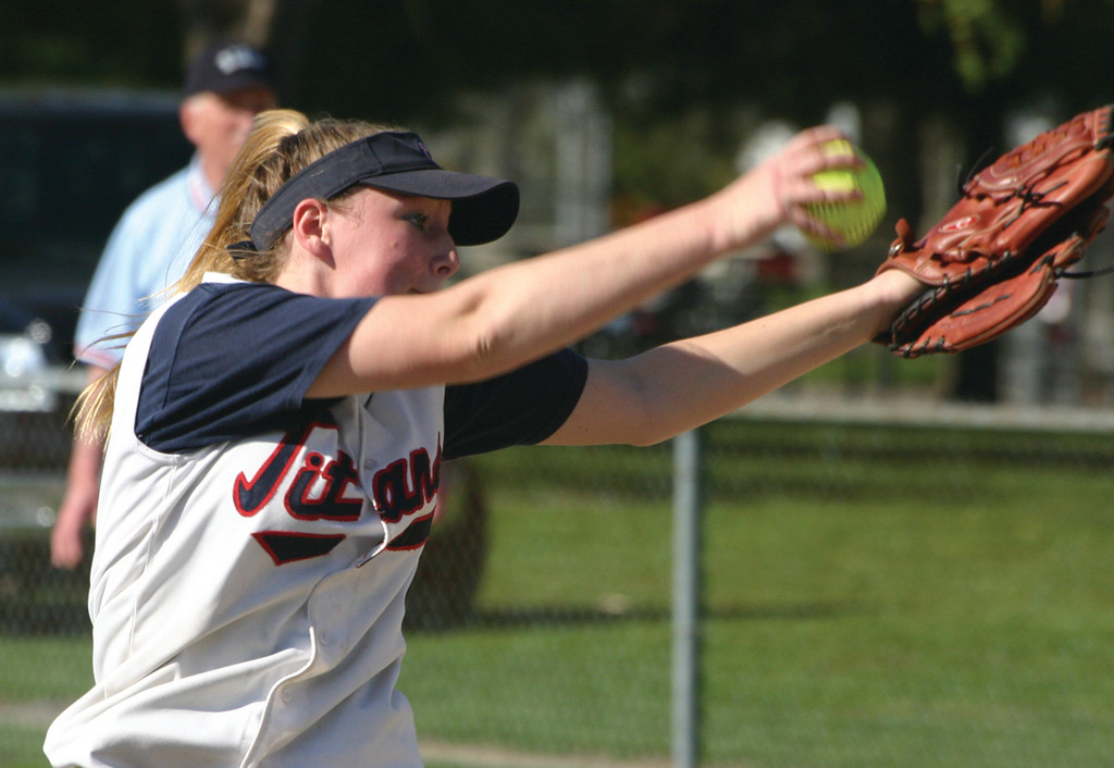 WINDING UP: Toll Gate's Katie McCaughey makes a pitch in a game last season. McCaughey returns to the lineup this season, along with just about everybody else from last year's team.