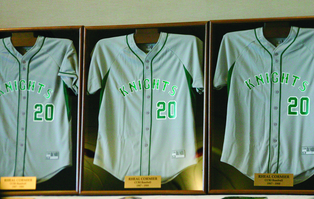HONORED: Three jerseys were retired on Saturday to honor former CCRI great and ex-Major League pitcher Rheal Cormier.