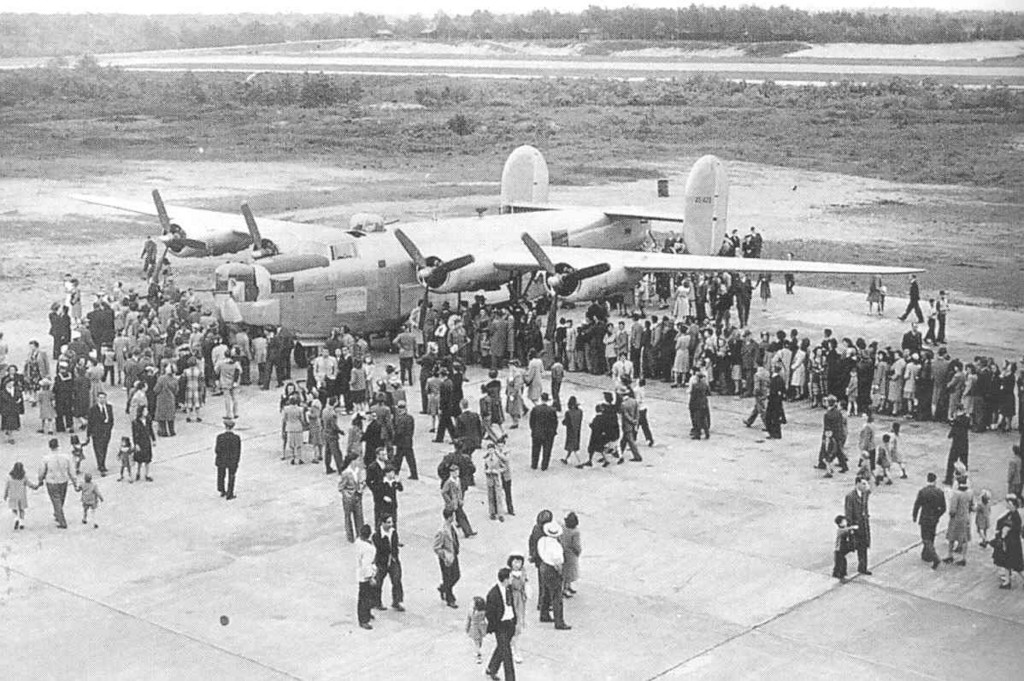"During World War II, the T.F. Green Airport was taken over by the U.S. Army Air Force. The public was invited to view the latest in military aircraft on ""bond-rally"" days."