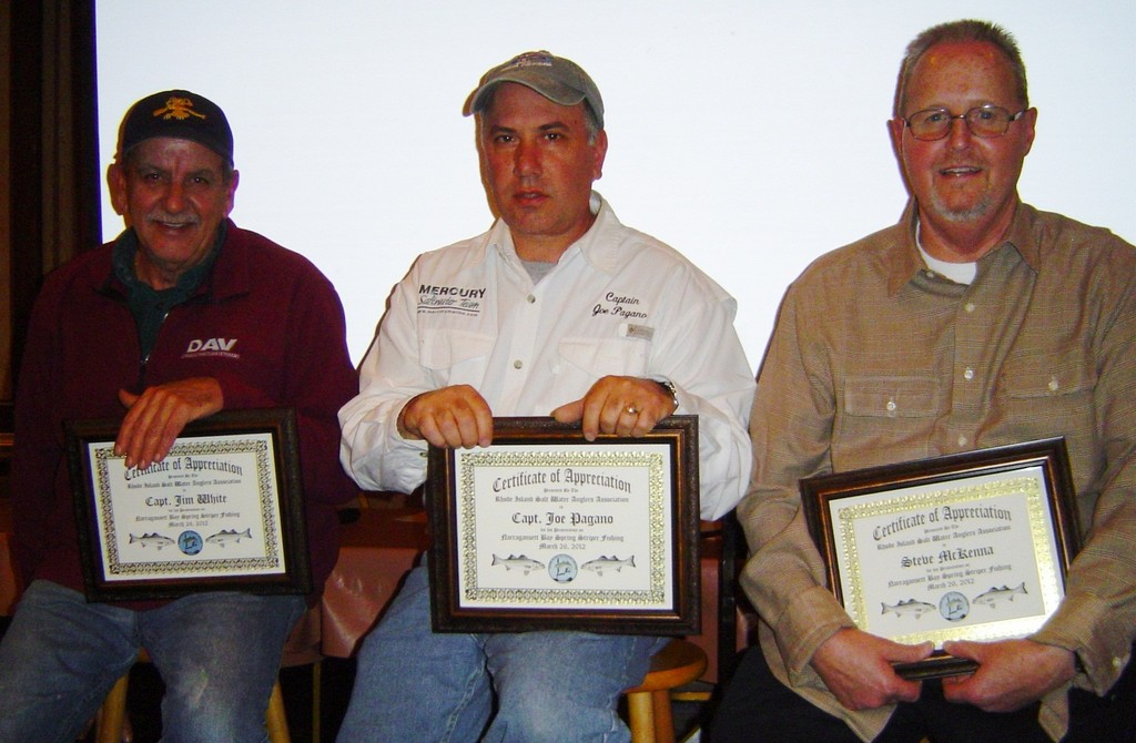 Striped bass experts speak about spring fishing in the Bay at RISAA's monthly meeting. From left: Capt. Jim White, Capt. Joe Pagano and expert shore angler Steve McKenna.