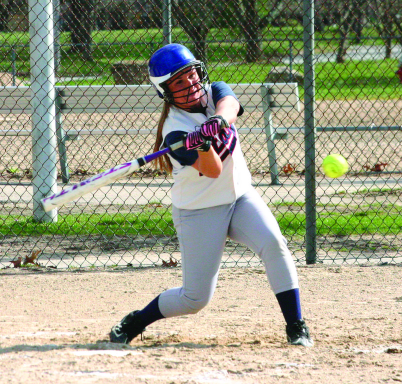 SWING IT: Toll Gate's Ingrid Freeman takes a cut in Monday's game against Cranston West. Freeman went 3-for-3 at the plate.