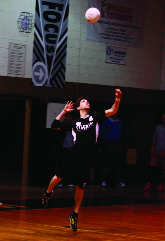 John Zuffoletti takes a jump serve.