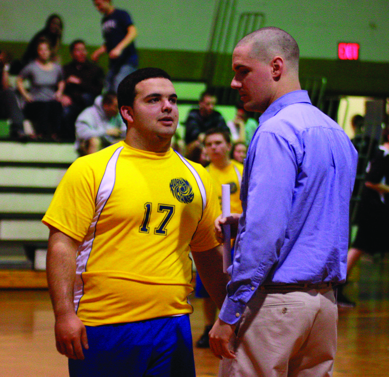 Vets' Max Andrade talks with his coach Brendan Friel.