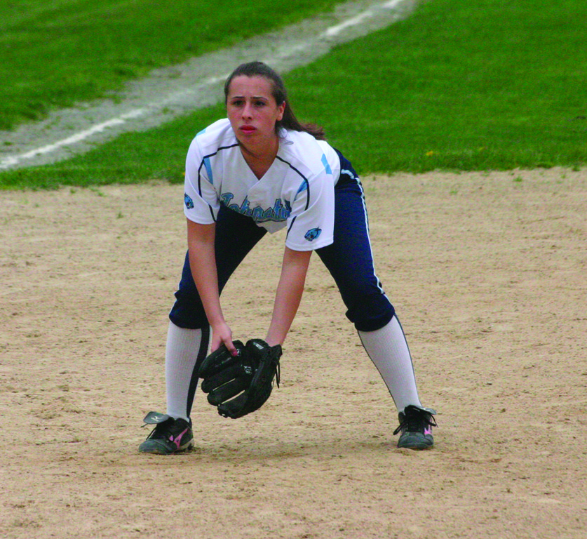 Ariana Caffeso gets into a ready position at third base last season.