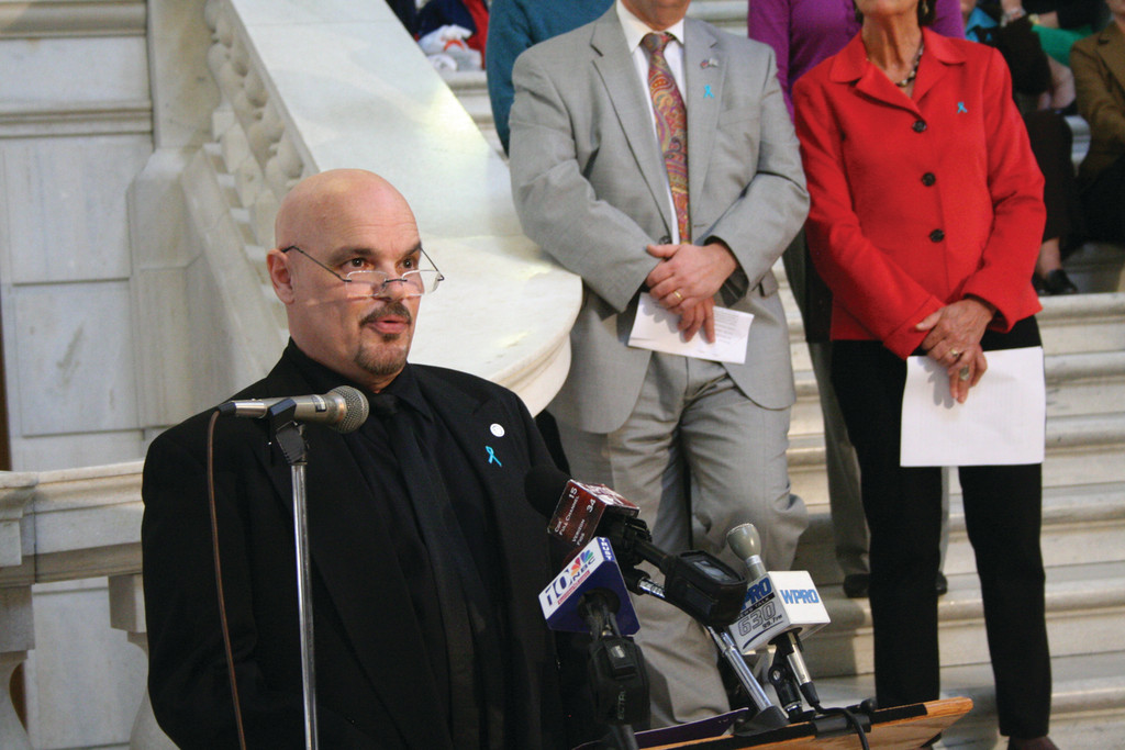 "Pasco Troia, a victim of sexual abuse, reminded those who have gone though similar experiences that they are not alone. ""Remember to talk with survivors, family members and close friends who you can ultimately trust,"" he said at the kickoff of Sexual Assault Awareness Month Tuesday at the State House."