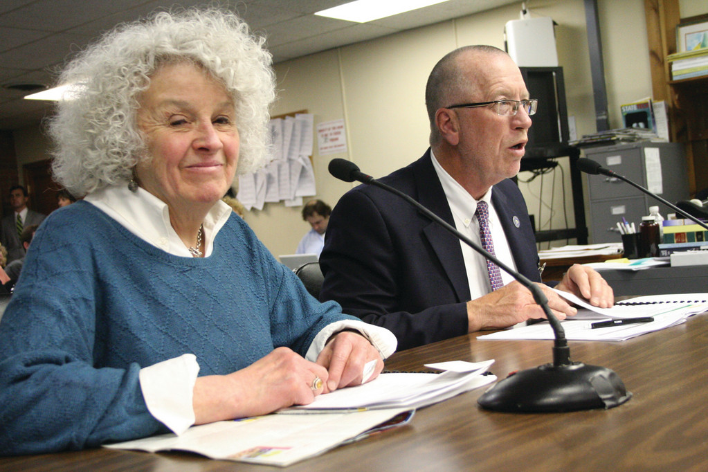 TAX THE SUGAR: Rep. Edith Ajello, sponsor of the bill to tax soda, and Steve DeToy of the Rhode Island Medical Society testify at Tuesday's hearing.