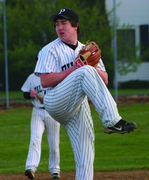 DEALING: Pitchers around the state, like Pilgrim's Colin Douglas, are reaping the benefits of the new BBCOR bats.