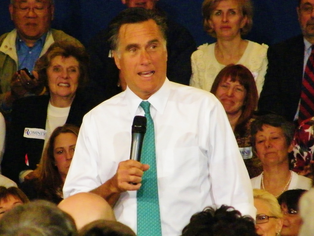 Mitt Romney speaks at the Town Hall Meeting he held in Warwick last week.