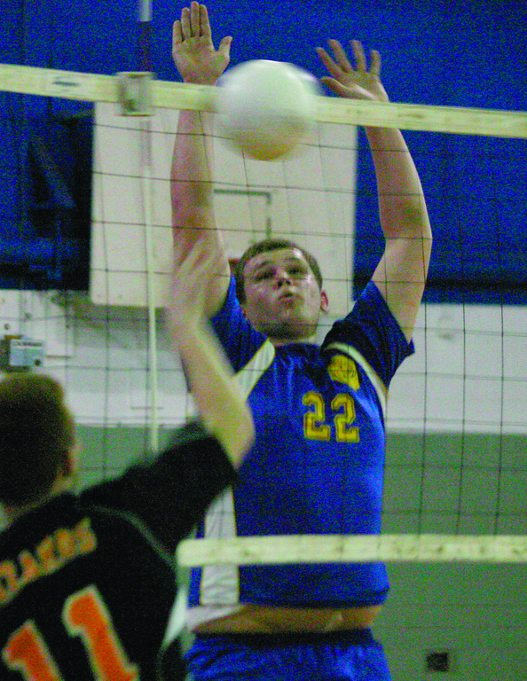 GOT IT: Vets' Slawamir Harmanowski goes up to make a block in Thursday's match against West Warwick.