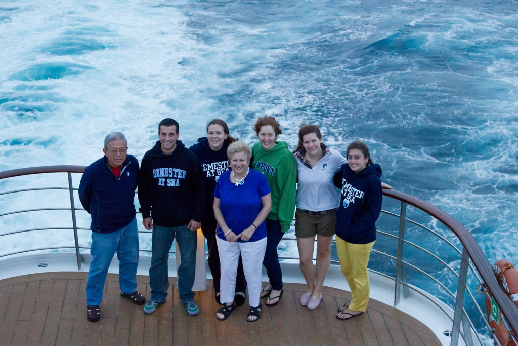 SAIL AWAY: Pictured are the four Warwick Semester at Sea participants with other Rhode Islanders taking the global excursion. They are, from left, John Eng-Wong, Steven Bernache, Lindsay Ruggieri, Priscilla Angelo, Megan Gonsalves, Emily Resnevic and Becca Olivo.