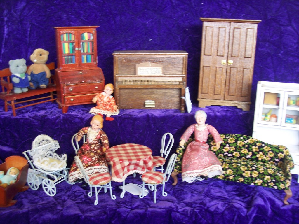 "Perhaps you would like to ""re-decorate"" your child's dollhouse with something from this inventory of miniature furniture and accessories."