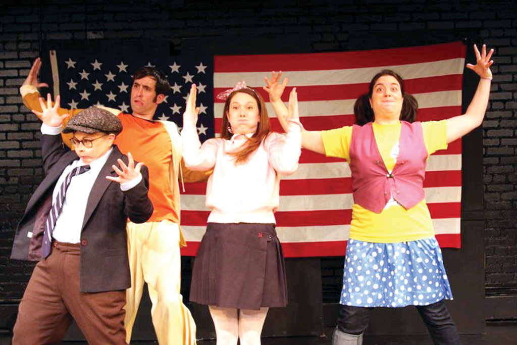 "Cast members perform a musical number in Rabinow's musical, ""A Brief History of the Earth and Everything In It."" From left are Casey Seymour-Kim, Christopher Rosenquest, Amanda Ruggiero and Kelly Seigh."