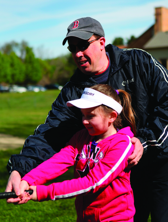 Hayley Hindle gets some tips from dad Jeff Hindle.