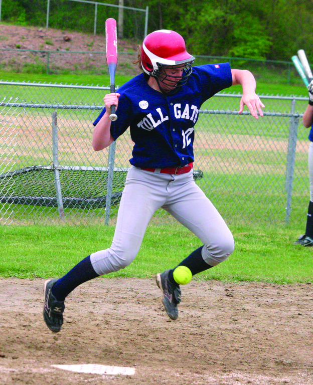 BRUISED: Toll Gate's Pattie Turner gets hit by a pitch in Thursday's game with Smithfield. The Titans lost for the fourth straight time.