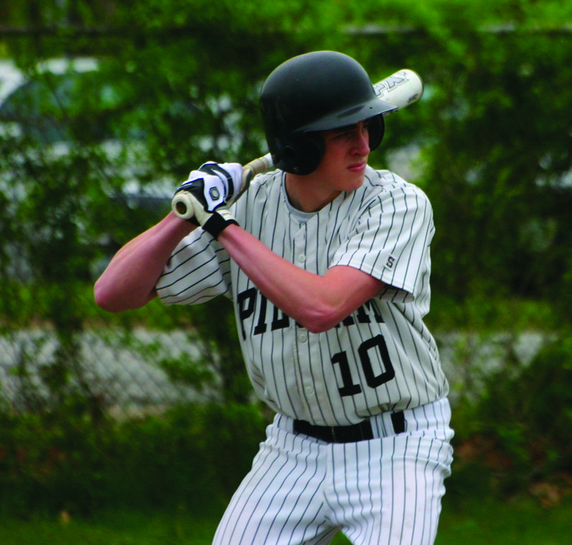 AT THE PLATE: Pilgrim's Cole Furney waits for a pitch in Friday's game against Cranston East.