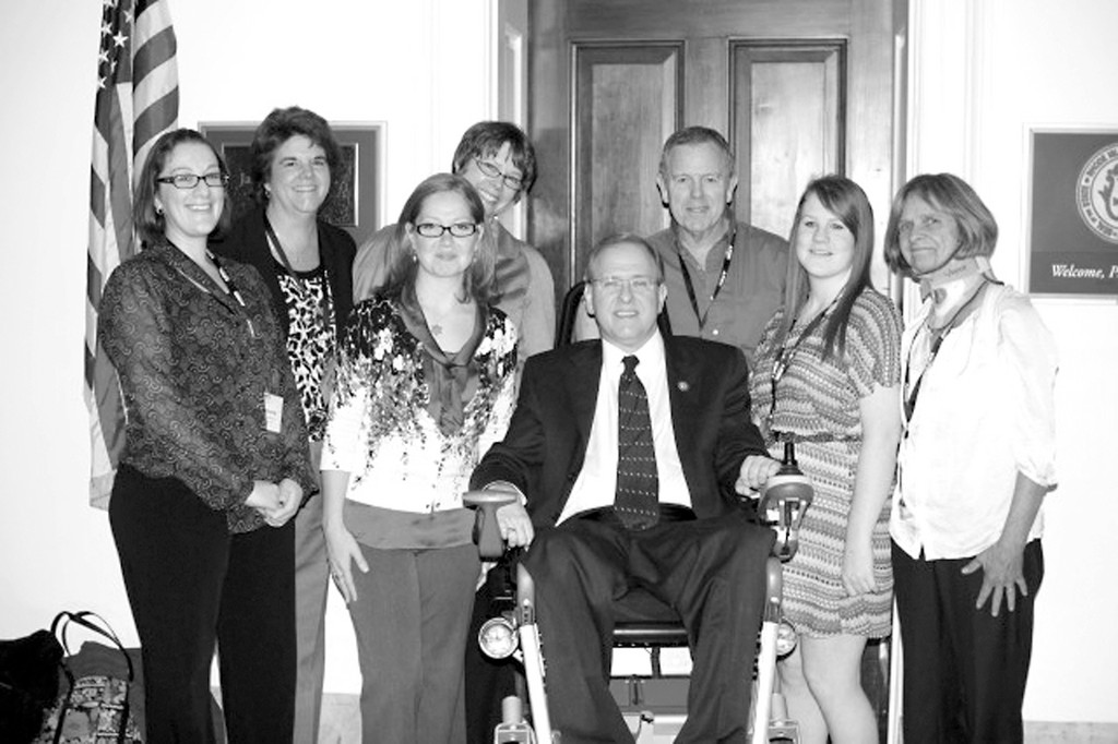 ARTHRITIS ADVOCATES: Alyssa Wilcox, second from right, was thrilled to meet Congressman Jim Langevin on a recent trip to Washington, D.C. From left are her sister Stephanie Romano; her project mentor Renay Houle; as well as members of the Arthritis Foundation New England Chapter, including Jennifer Racine, Rebecca Farnlof, Stuart Smith and Ellen Smith.