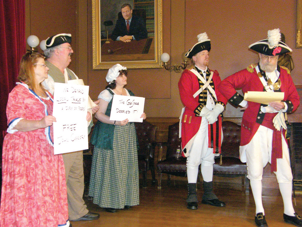 RICH HISTORY: Colonial re-enactors from the Gaspee Days Committee and Pawtuxet Rangers took part in the Proclamation Ceremony on Thursday. They are, from left, Janice Rooney, Daniel Rooney, Tina Bingham, Jonathon Ryder and John Currier.
