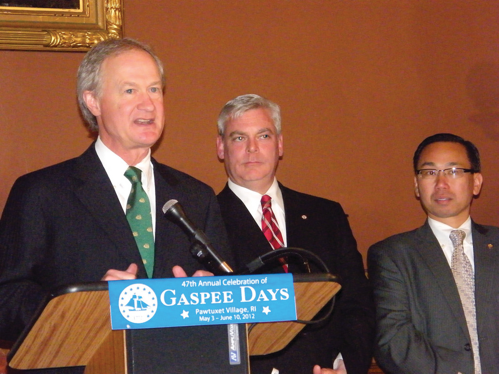 OPENING CEREMONY: Governor Lincoln Chafee was joined by Mayors Scott Avedisian and Allan Fung on Thursday at the State House for the annual Gaspee Days State Proclamation Ceremony.