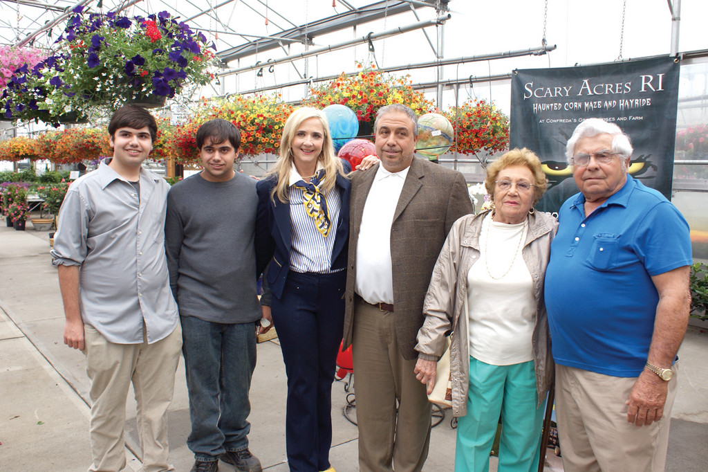 GENERATIONS: Pictured are three generations of the Confreda family, who all are or have been involved in the business during their 90th celebration last week. From left are Jon Confreda, Vinny J. Confreda Jr., Lori Confreda, Vinny J. Confreda Sr., Hermine Confreda and Vinny P. Confreda. (Not pictured are Corey Confreda and Lucas Confreda).