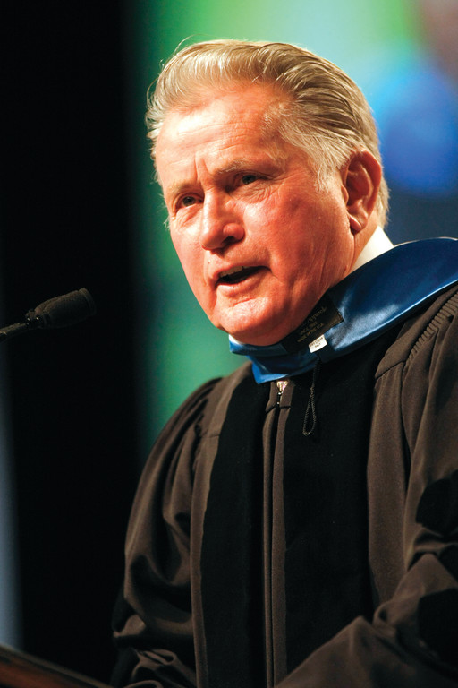 POWERFUL SPEAKER: Actor and activist Martin Sheen served as the commencement speaker at Sunday's New England Institute of Technology graduation ceremony. Sheen spoke about justice, equality and peace and encouraged students to pursue their passions in life.