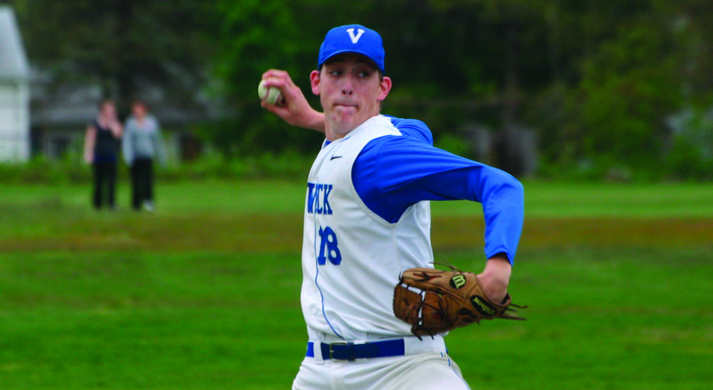 DELIVERING: Vets senior Shane Johnson makes a pitch in Tuesday's game against East Providence. Johnson struck out 11 in a one-hit shutout, the second straight shutout for the 'Canes, who have won three of four.