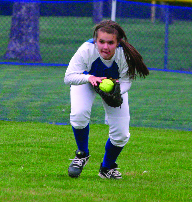 ON THE BALL: Gabbrelliea Korlacki fields a base hit to right field.