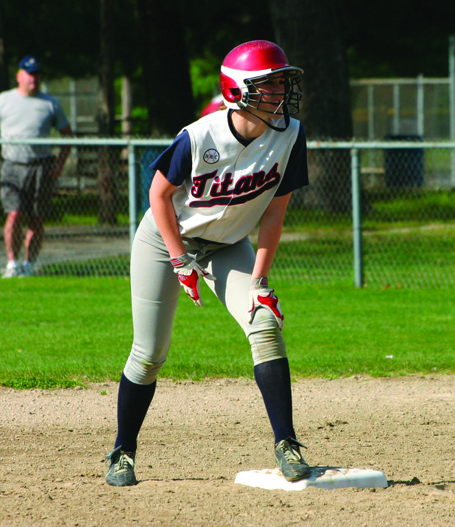 Kaylyn Dion readies herself on second base.