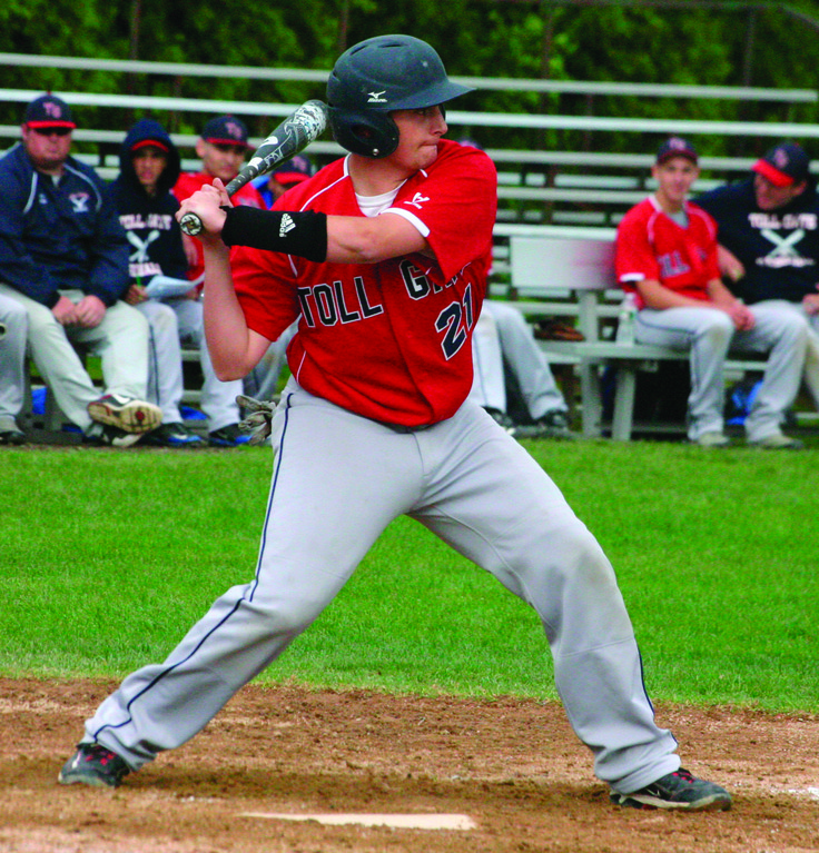 SWINGING: Toll Gate's R.J. Mann starts his swing in Thursday's game against East Providence.