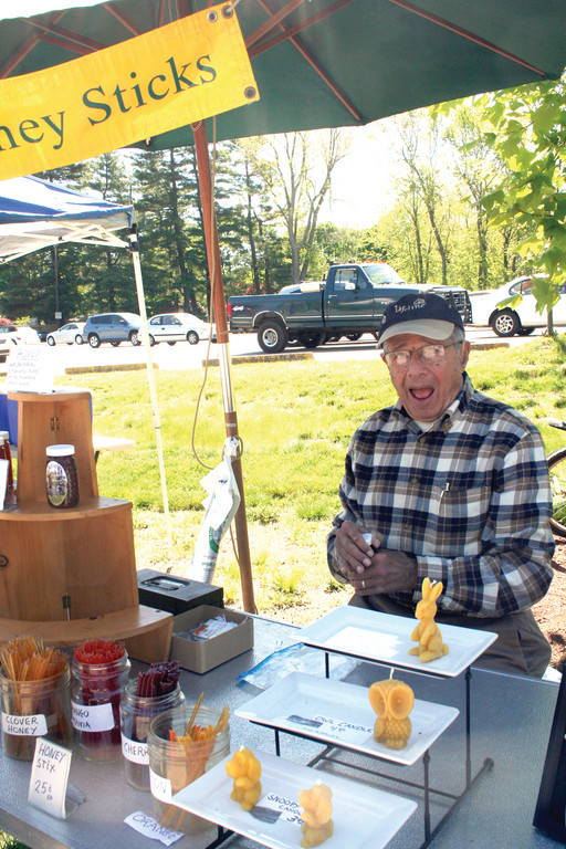 HONEY DO LIST: Beekeeper Bernie Bieder sells fresh honey from his tent at Rhodes.