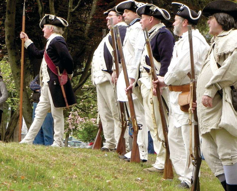 ALLIES: Several Rhode Island militias, including the Kentish Guards and the Pawtuxet Rangers, came to commemorate the Rhode Island Independence Day ceremonies held at the Nathanael Greene Homestead on May 5, the day after the anniversary of the declaration made two months before the national Declaration in Philadelphia.