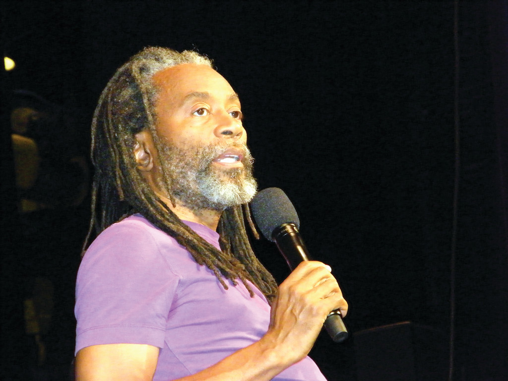 "JUST SINGING: Grammy Award-winner Bobby McFerrin hosted a performance and question-and-answer session with Rhode Island students last week in Providence. He told them to find their voices and ""just sing."""