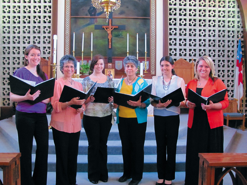 AN INSPIRATION: Those members of the Ocean State Women's Choir enhanced last Friday evening's Interfaith Memorial Service for Hospice Care of the VNA of Care New England, were from left: Catie Flynn, Director JoAnn Phillips, Rebecca Mallette, Rena Anthony, Elisabeth Richardson and Brittany Dyer.