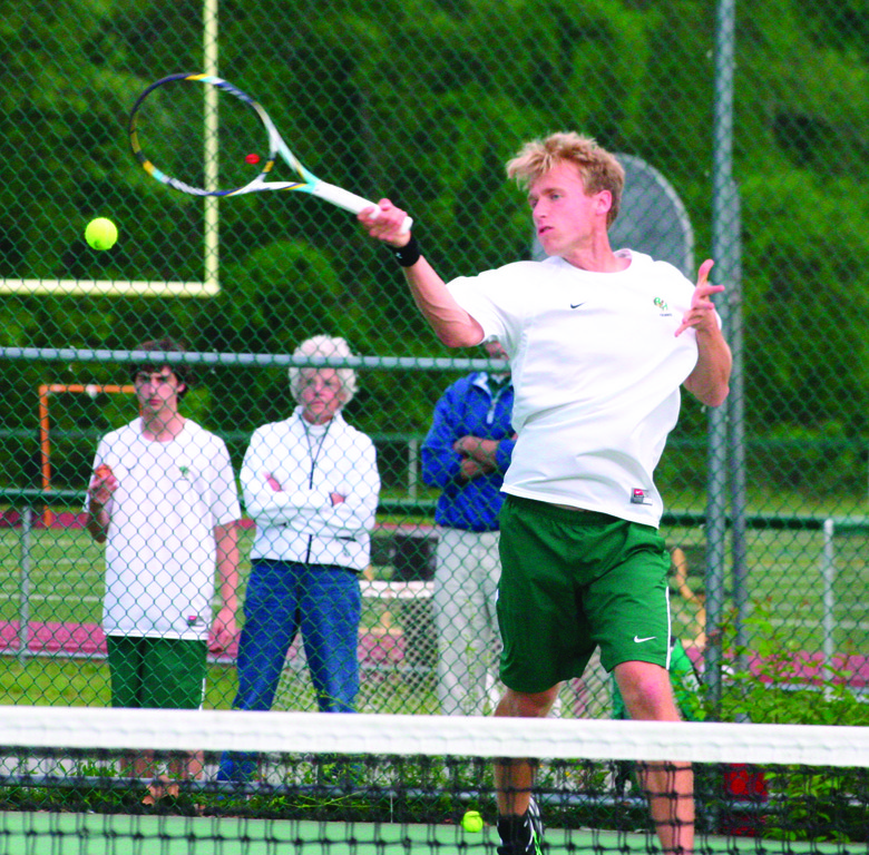 GOING FOR IT: Hendricken No. 1 Nick Walsh hits a forehand on Wednesday against South Kingstown.