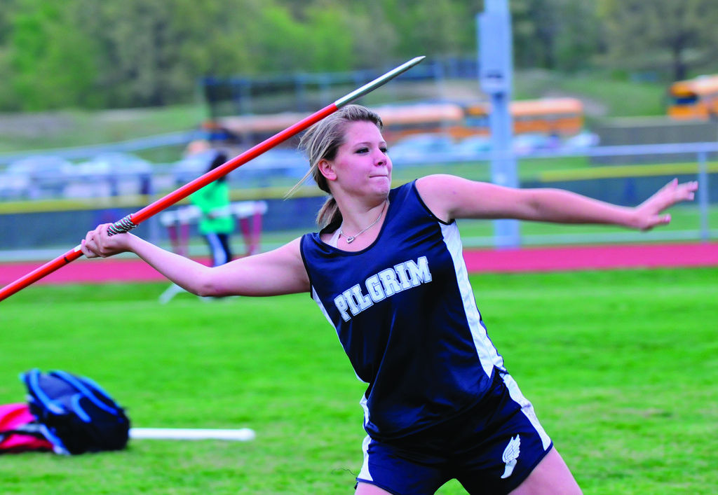 MacKenzie Caron, pictured at divisions, and the Pilgrim girls took third in Class A.