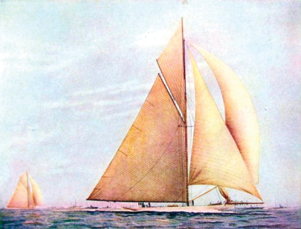 WITH FLYING COLORS: This color image of the Reliance, a successful defender of the America's Cup against Sir Thomas Lipton's Shamrock IV, conveys some of the beauty of the boat under sail. Lipton is remembered as one of the great sportsmen of yacht racing.