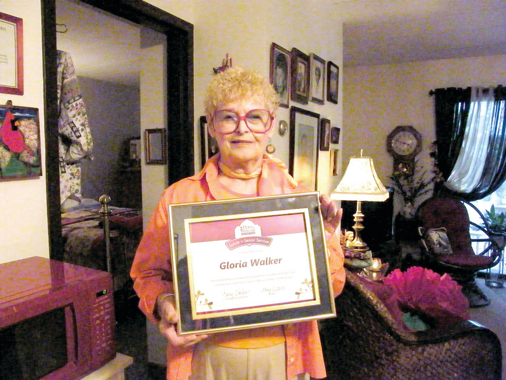 OUTSTANDING VOLUNTEER: At age 84, Warwick resident Gloria Walker was commended as Rhode Island�s winner of the Senior Service Award, presented by Home Instead Senior Care Network. In addition to her award, Mayor Scott Avedisian declared May 2  �Gloria Walker Day� in Warwick.