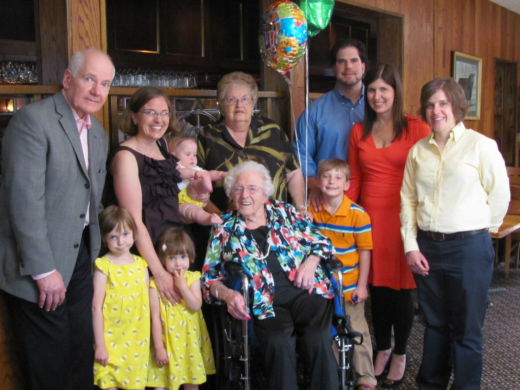 BIRTHDAY GIRL: Dorothy Davidson LaPointe (center) is surrounded by four generations of her family at Twin Oaks on Saturday as they celebrate the Warwick resident's 95th birthday, which was actually Mother's Day, May 13.