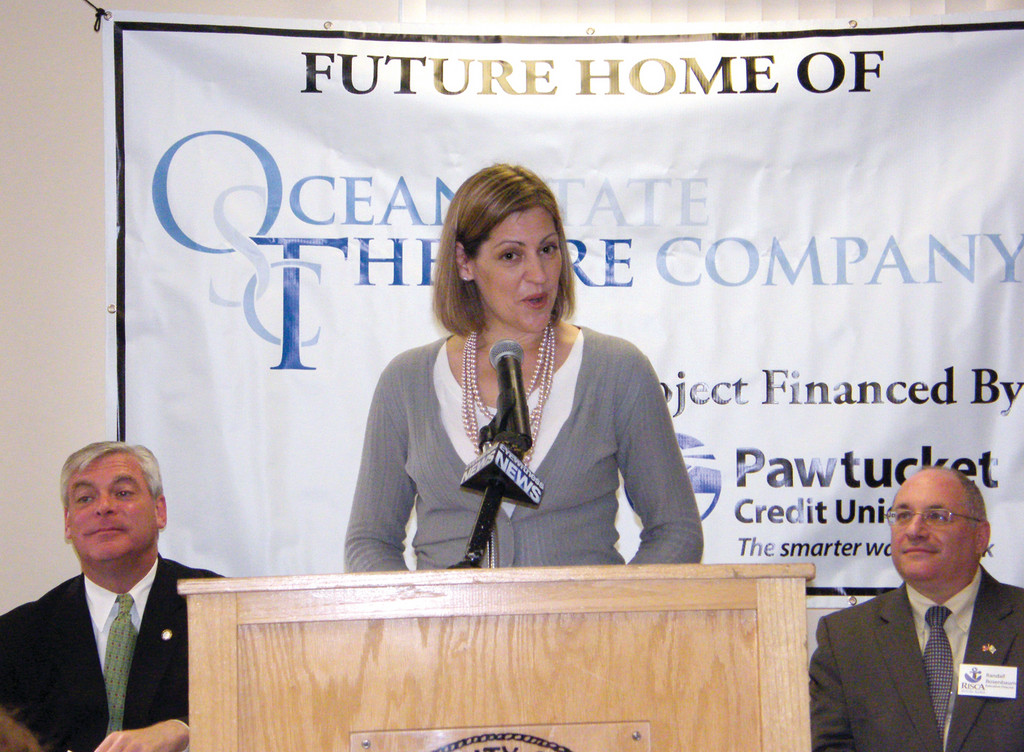 BIG ANNOUNCEMENT: Aimee Turner, producing artistic director of Ocean State Theatre Company, announced Tuesday morning that the theater would be making its way to Warwick, with plans of opening in December. Turner is flanked by Mayor Scott Avedisian and Randall Rosenbaum, executive director of RISCA.