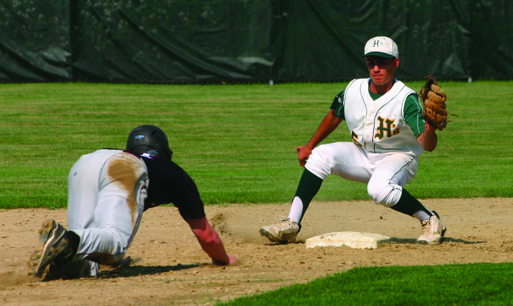 EASY OUT: Lou Umberto waits at second base to tag out East Greenwich's Ryan Gavin after catching Billy Walker's pickoff throw from behind the plate on Tuesday. The Hawks beat the Avengers 7-2.