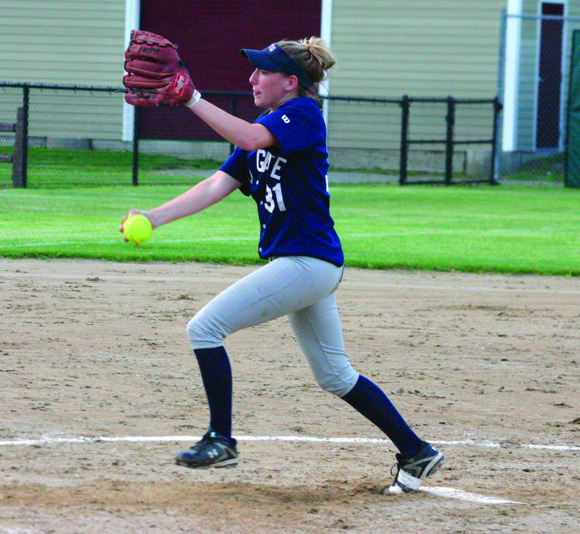 PLAYOFF MAGIC: Toll Gate's Katie McCaughey delivers a pitch in Sunday's playoff game against Bay View. After losing five of six to end the regular season, the Titans have won three straight playoff games for a spot in the winners' bracket final.