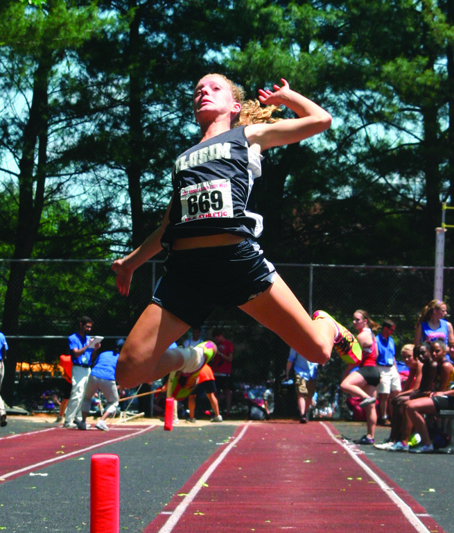 Pilgrim's Becca O'Donnell takes her turn in the long jump.