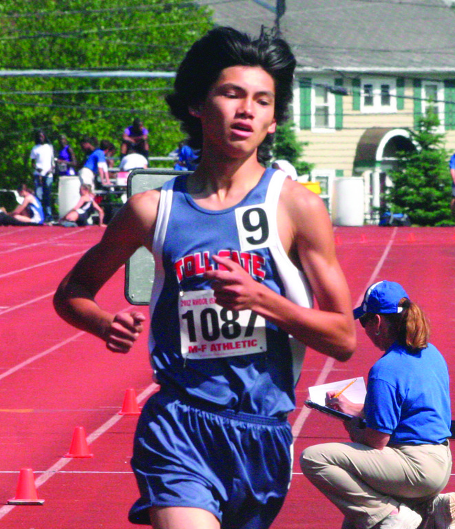Toll Gate's Henry Smithers competes in the 1,500 at Sunday's state meet.