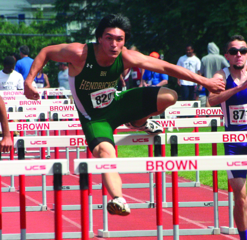 MEDALIST: Kyle O'Connell competes in the 110 hurdles.