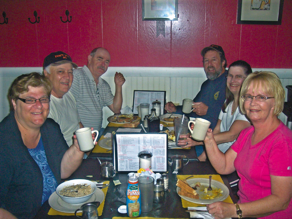 Meet Saturday morning regulars (l-r) Sue, Al, Rick, Paul, Phyllis and Angela - friends for over 26 years, and counting...